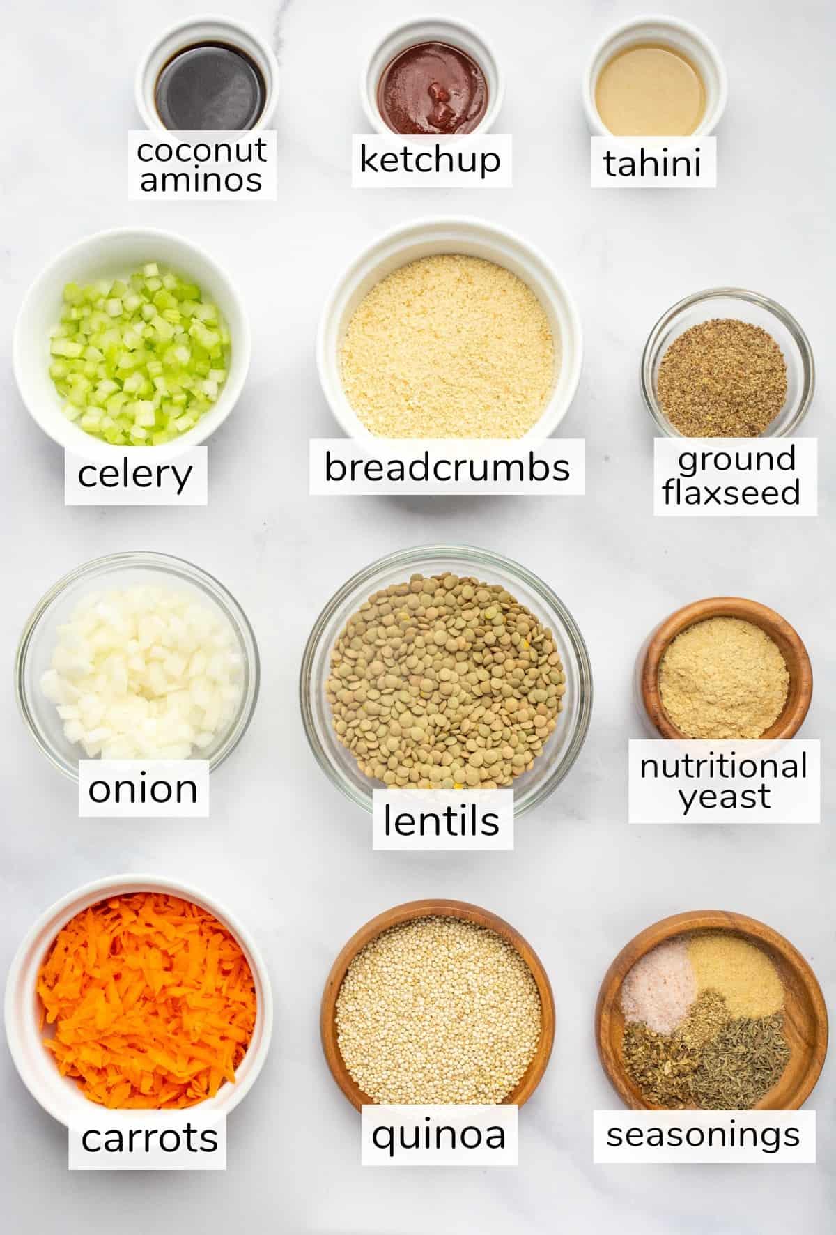 Labeled lentil loaf ingredients in separate bowls.