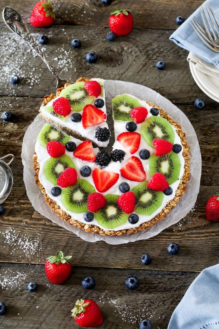 Healthy Fruit Pizza with Fresh Coconut Whip
