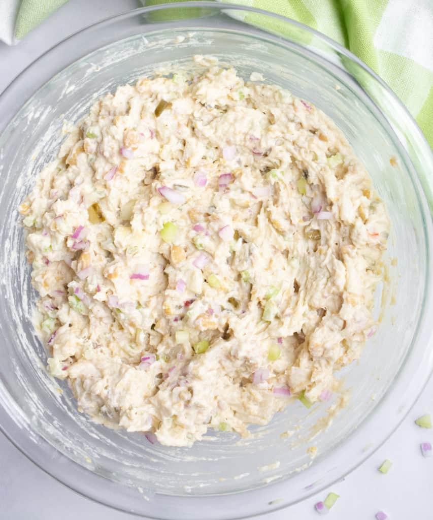 A bowl of vegan tuna salad after mixing.