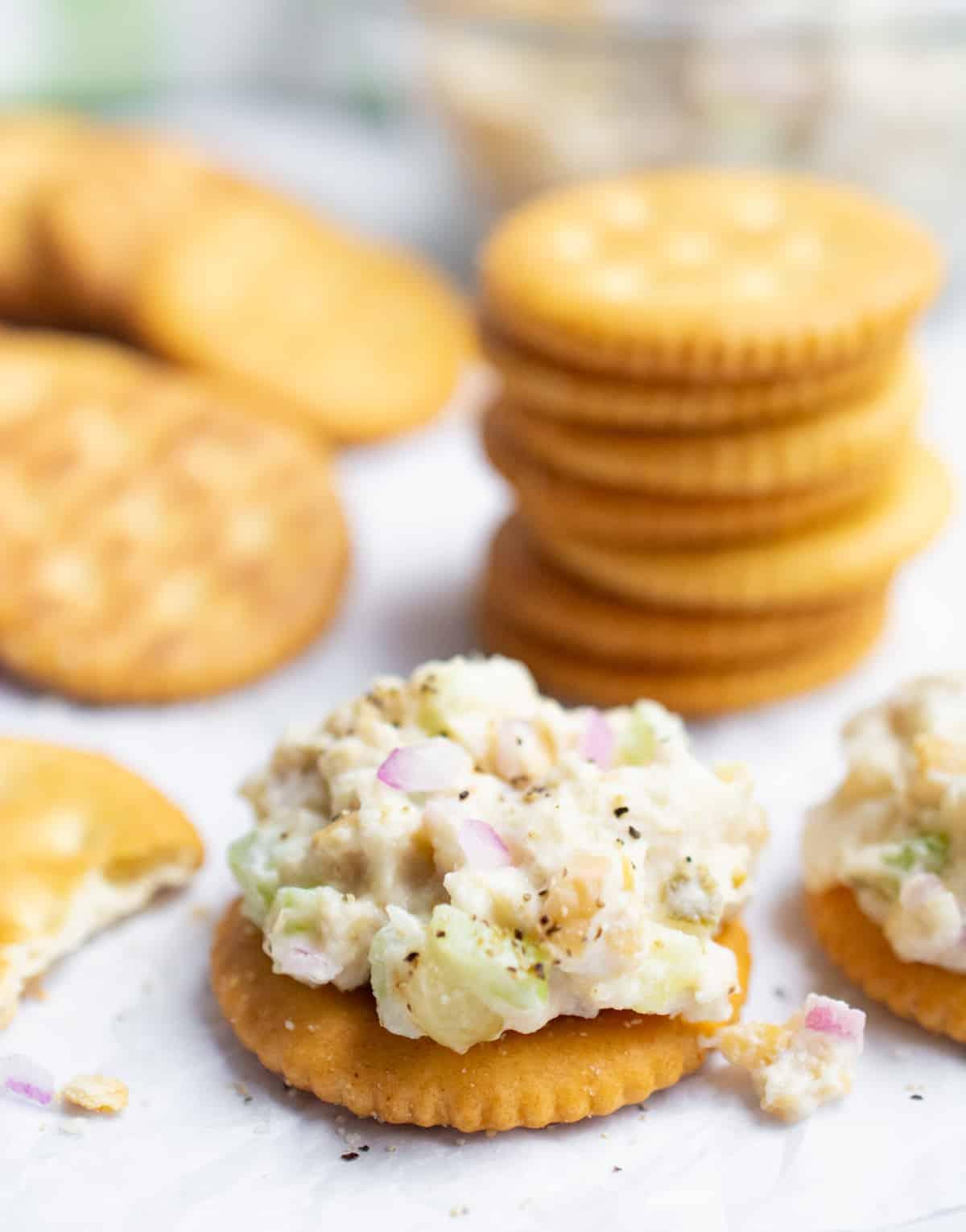 Vegan tuna salad on crackers.