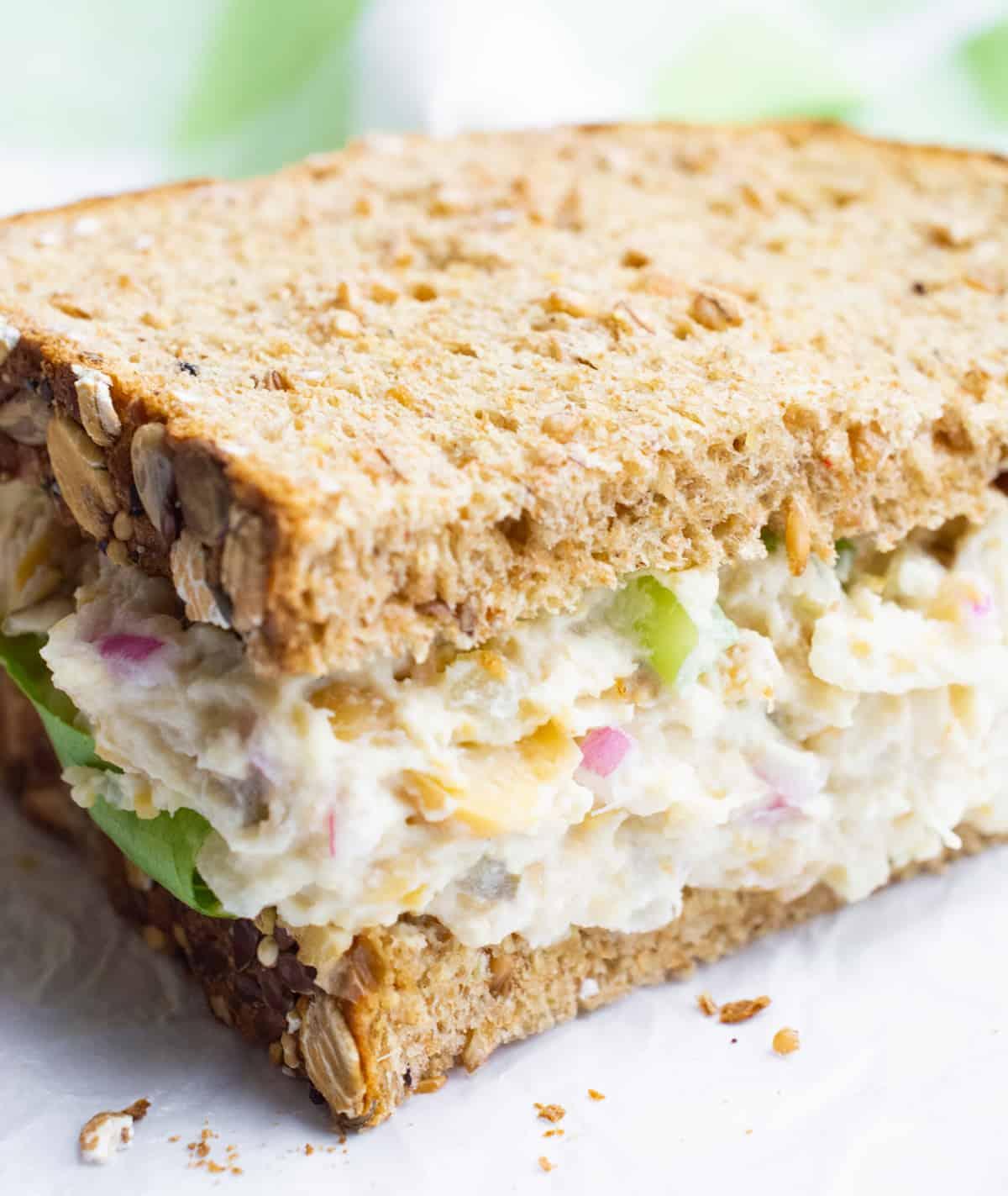 Half of a vegan sandwich.