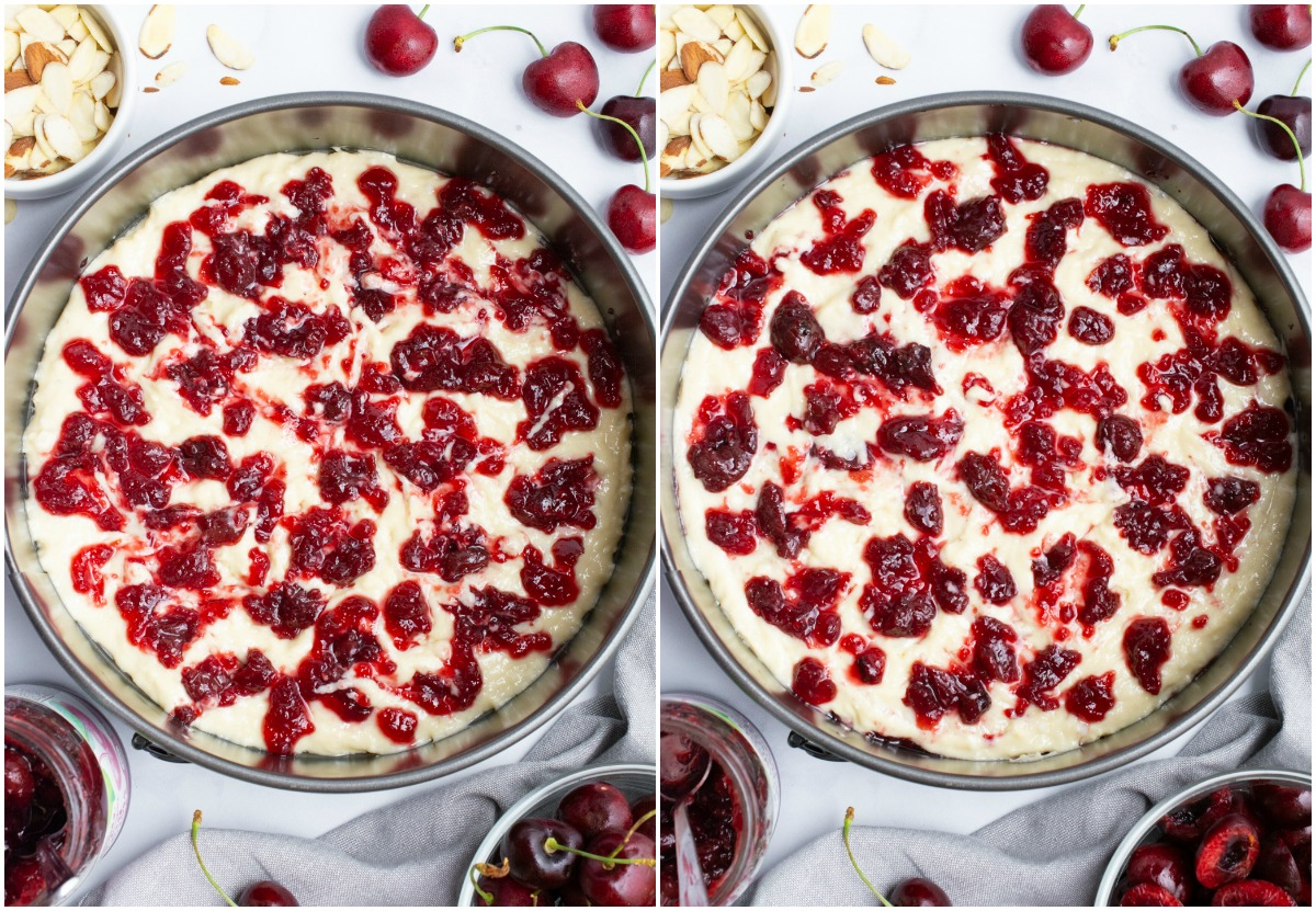 A collage of cherry preserves being added to the top of cake batter.