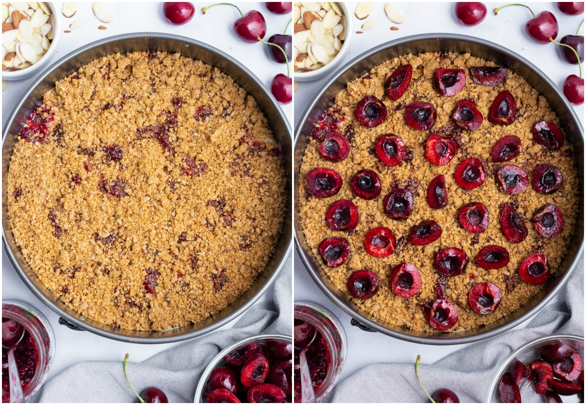 Collage of adding crumb topping and fresh cherries to coffee cake.