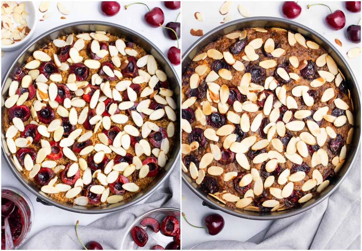 Vegan cherry almond coffee cake before and after baking.