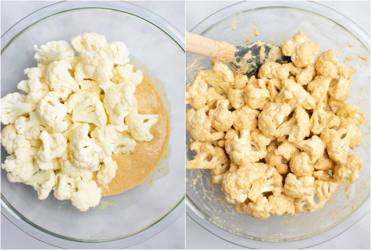 Cauliflower in a bowl of batter and cauliflower tossed in batter.