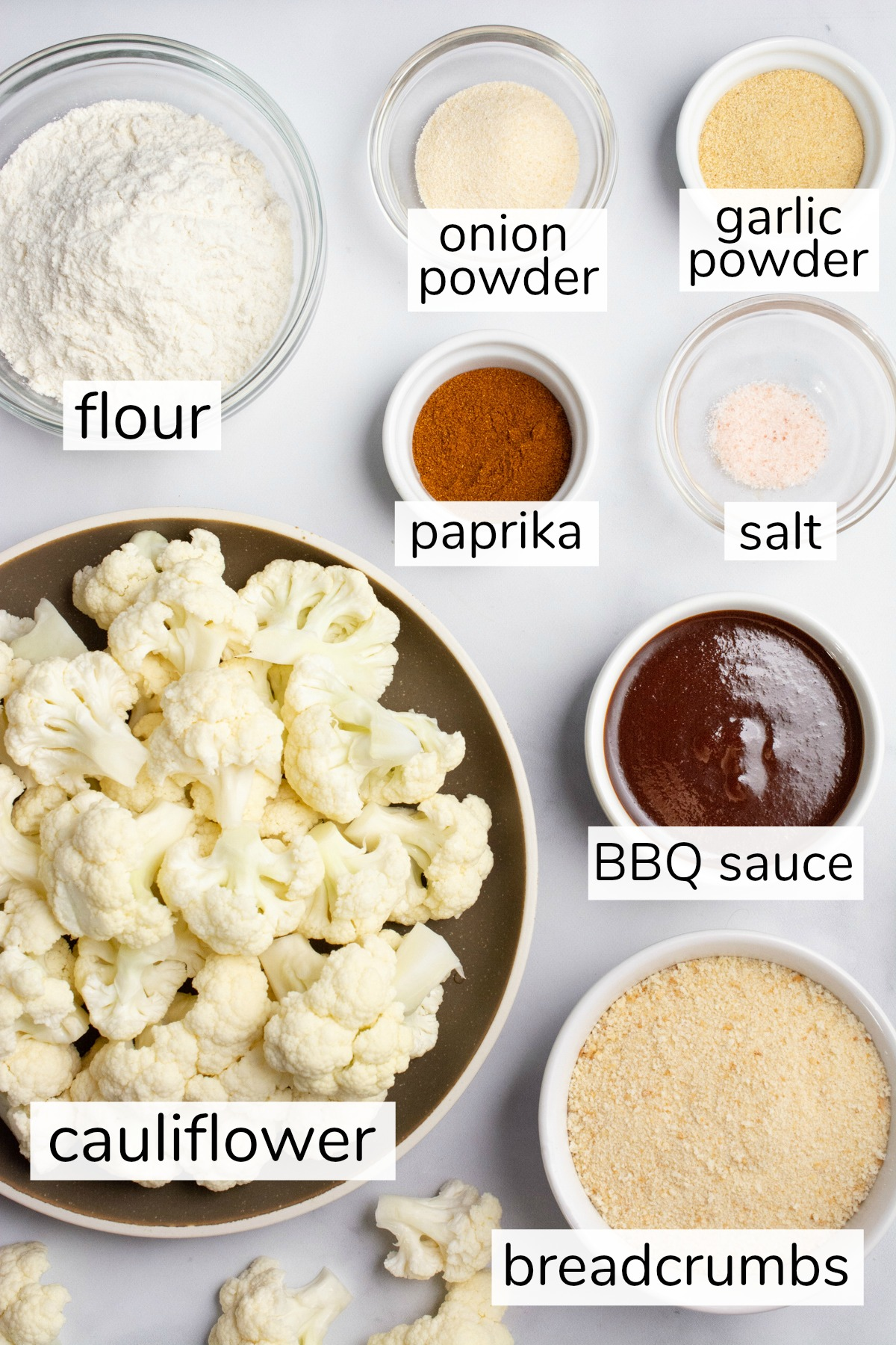 Labeled ingredients for BBQ cauliflower wings.