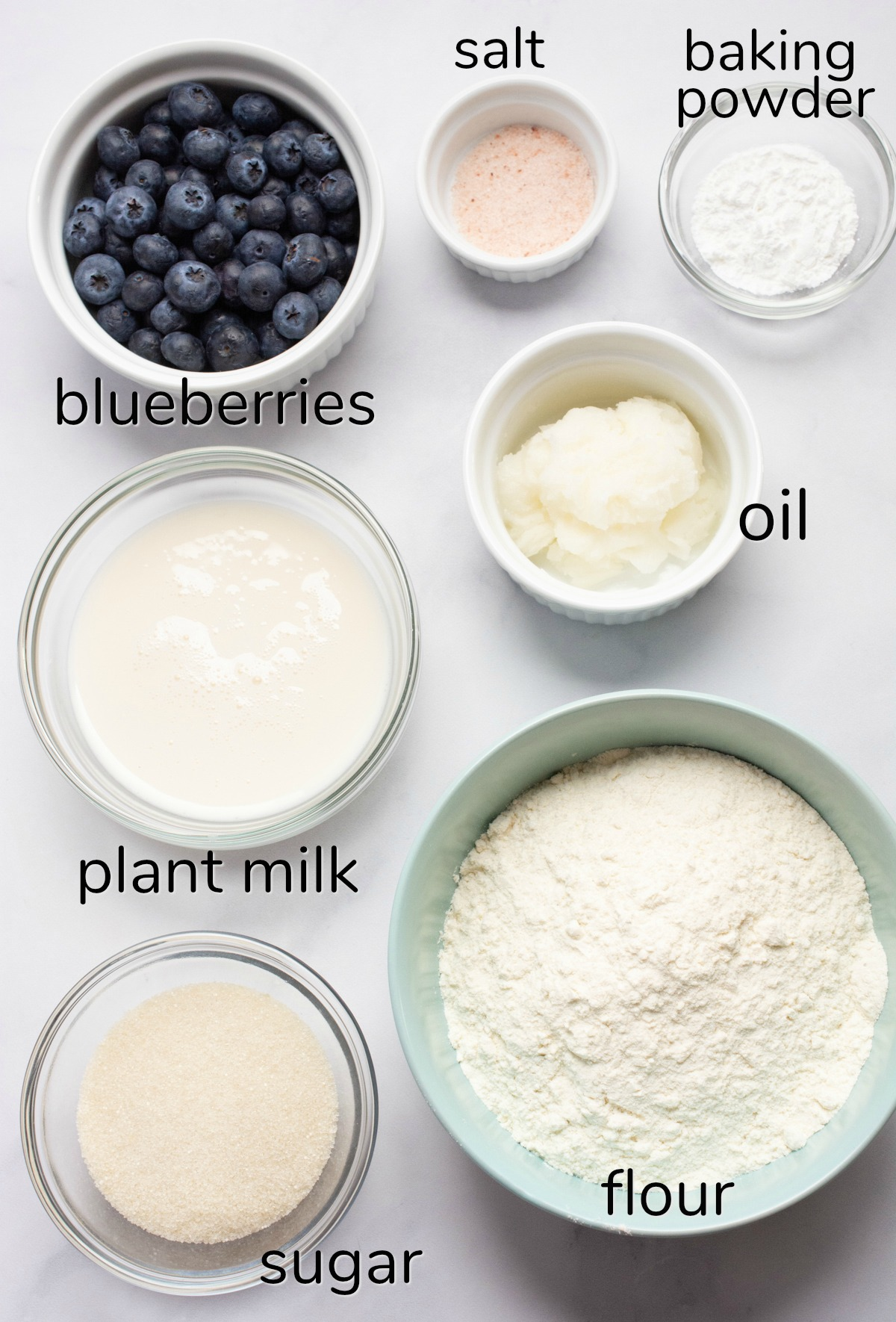 Labeled ingredients to make vegan blueberry scones.
