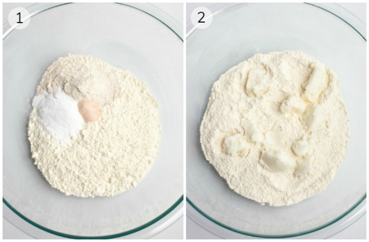 Collage of a bowl of dry ingredients and a bowl of flour with dollops of oil.