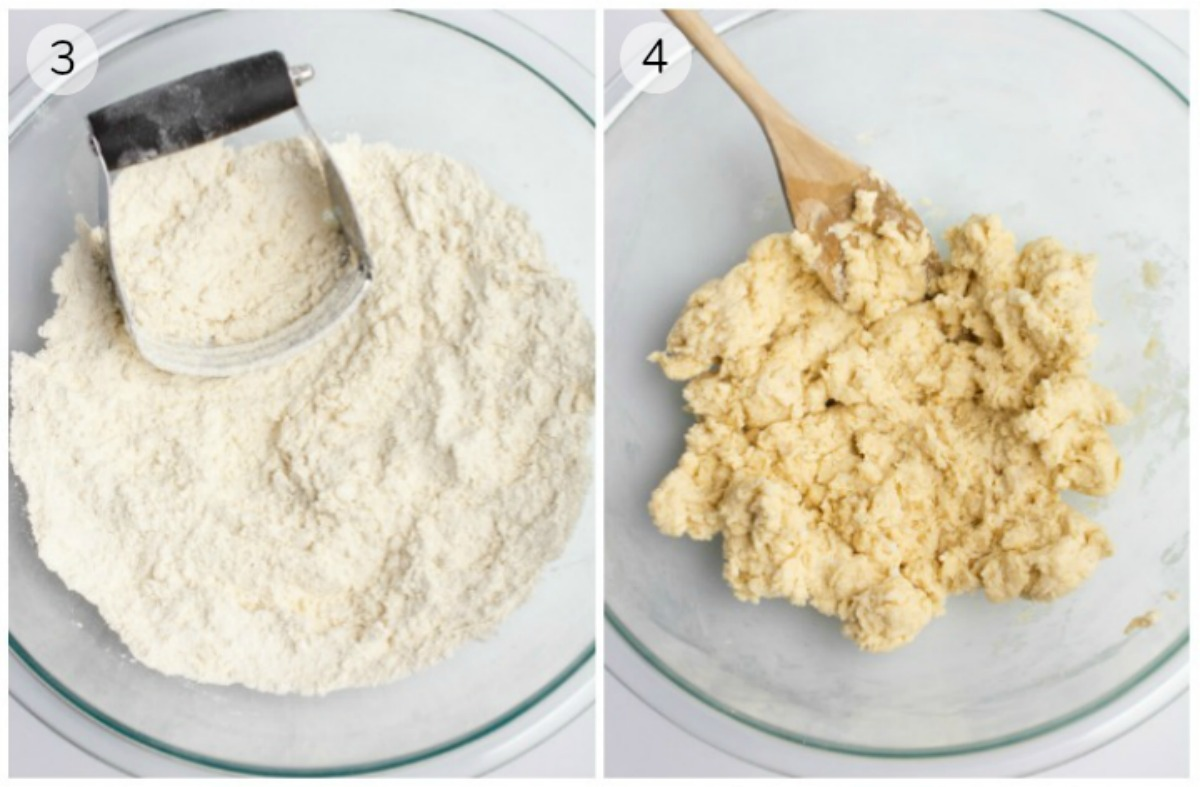 Collage of flour and a pastry cutter in a bowl and a bowl of mixed dough.