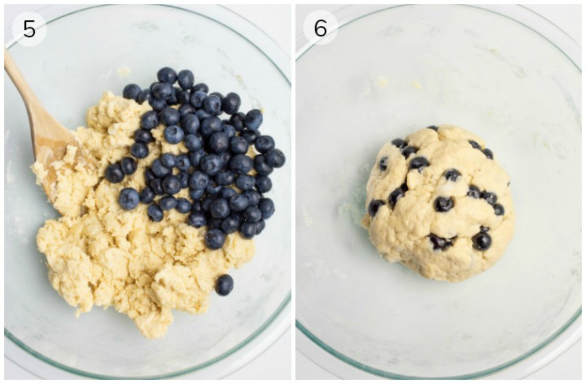 Two images, a bowl with dough and blueberries, and the blueberries mixed in.