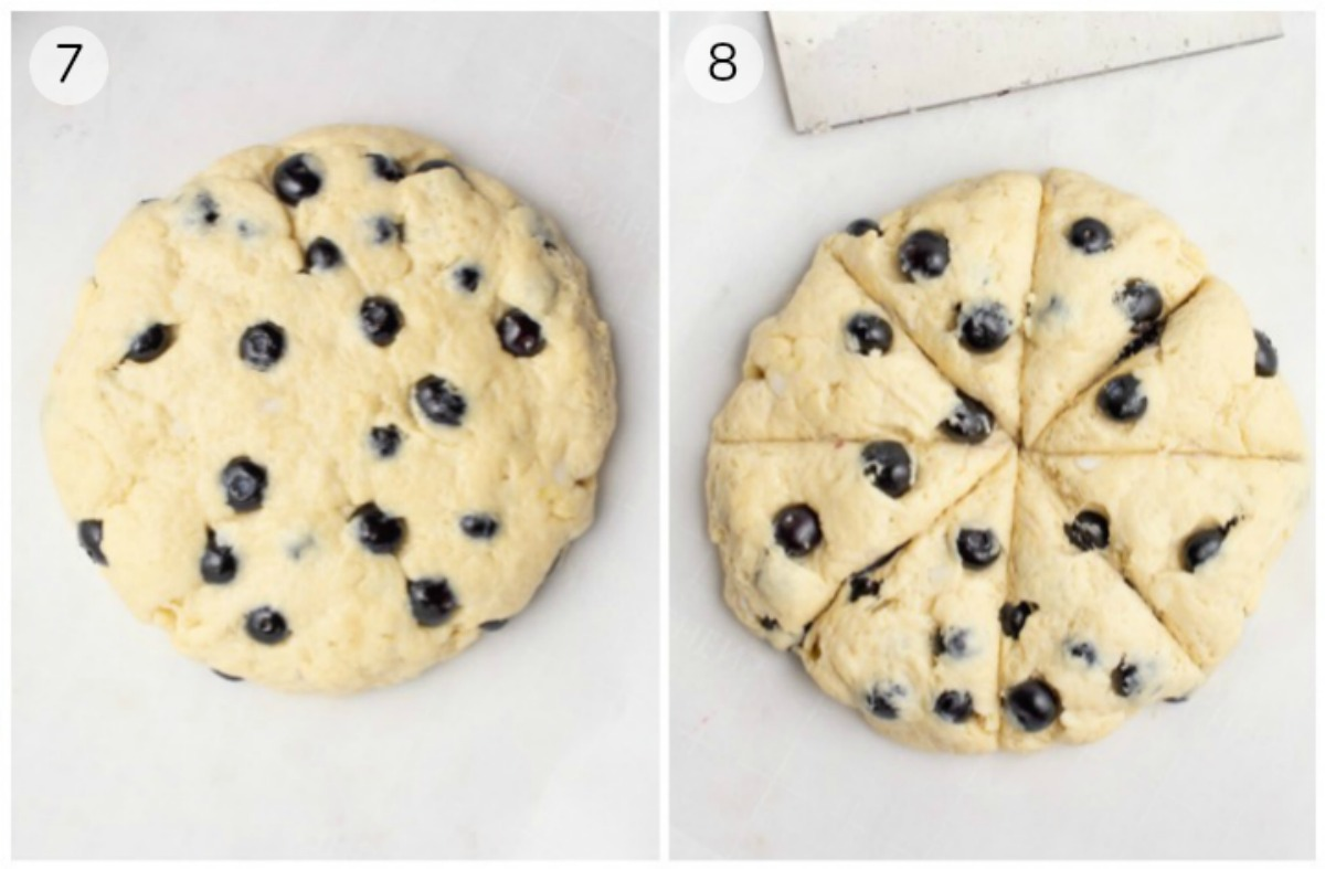 Collage of blueberry scone dough rolled out and cut.