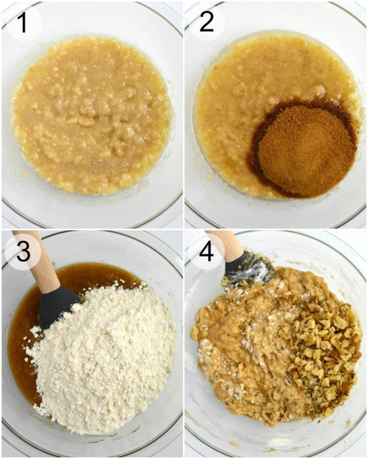 Process of mashing bananas, adding wet and dry ingredients then mixing to create a batter.