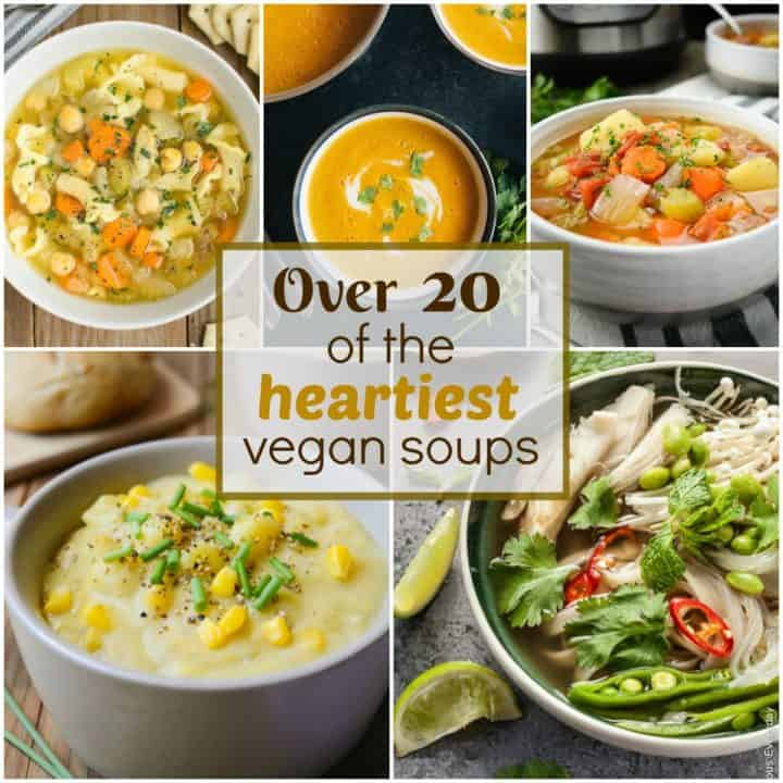 Collage of hearty vegan soups.