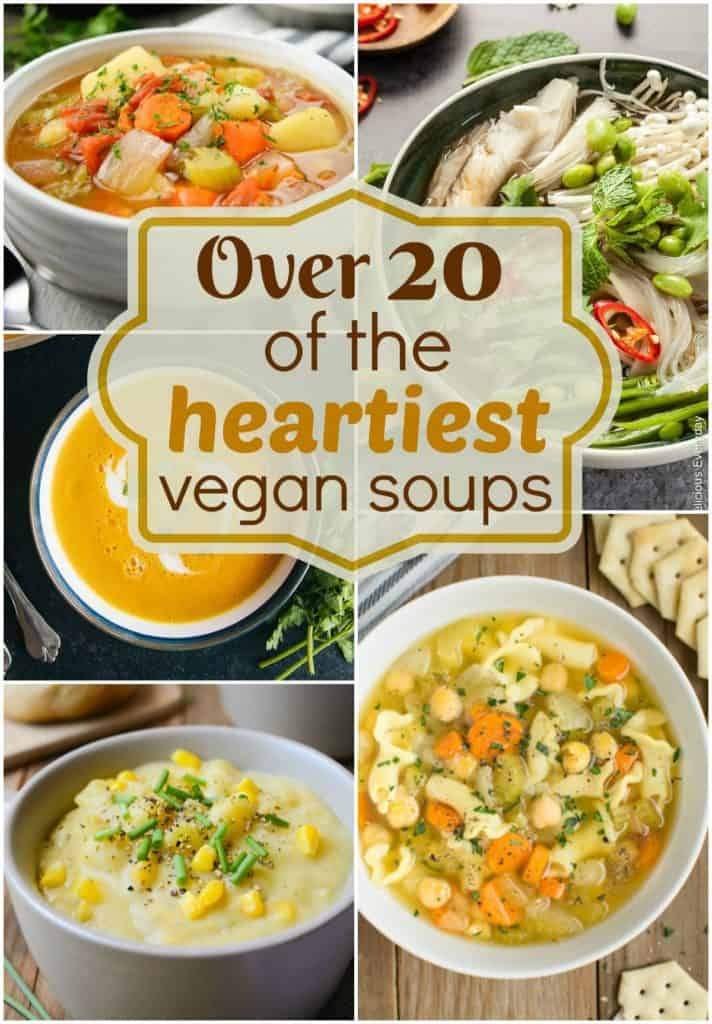 A collage of hearty vegan soups for pinterest.