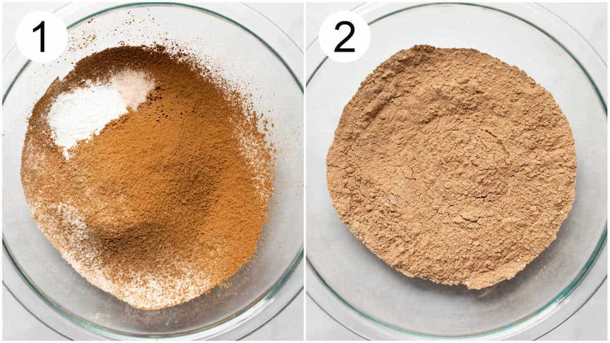 Flour, cocoa powder, salt, and baking powder mixed in a glass bowl.