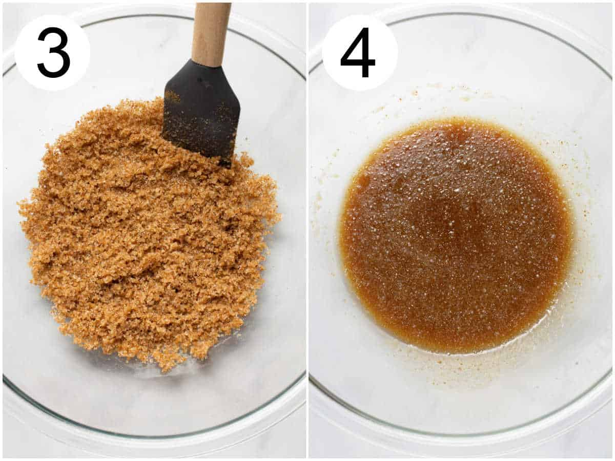 Collage of oil an sugar mixed in a glass bowl with a spatula. And liquid mixed into the bowl.