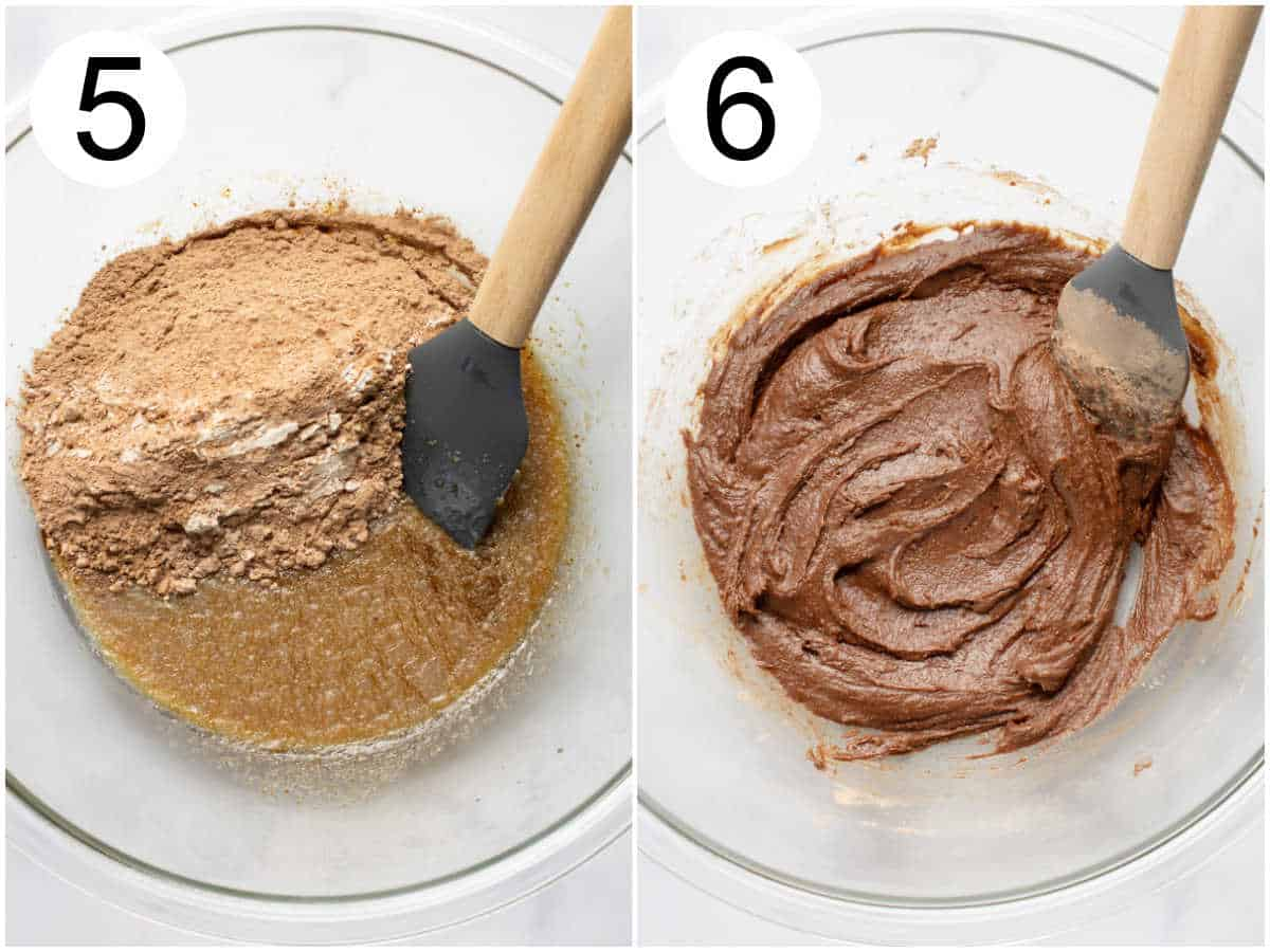 Collage of brownie batter in a glass bowl before and after mixing.