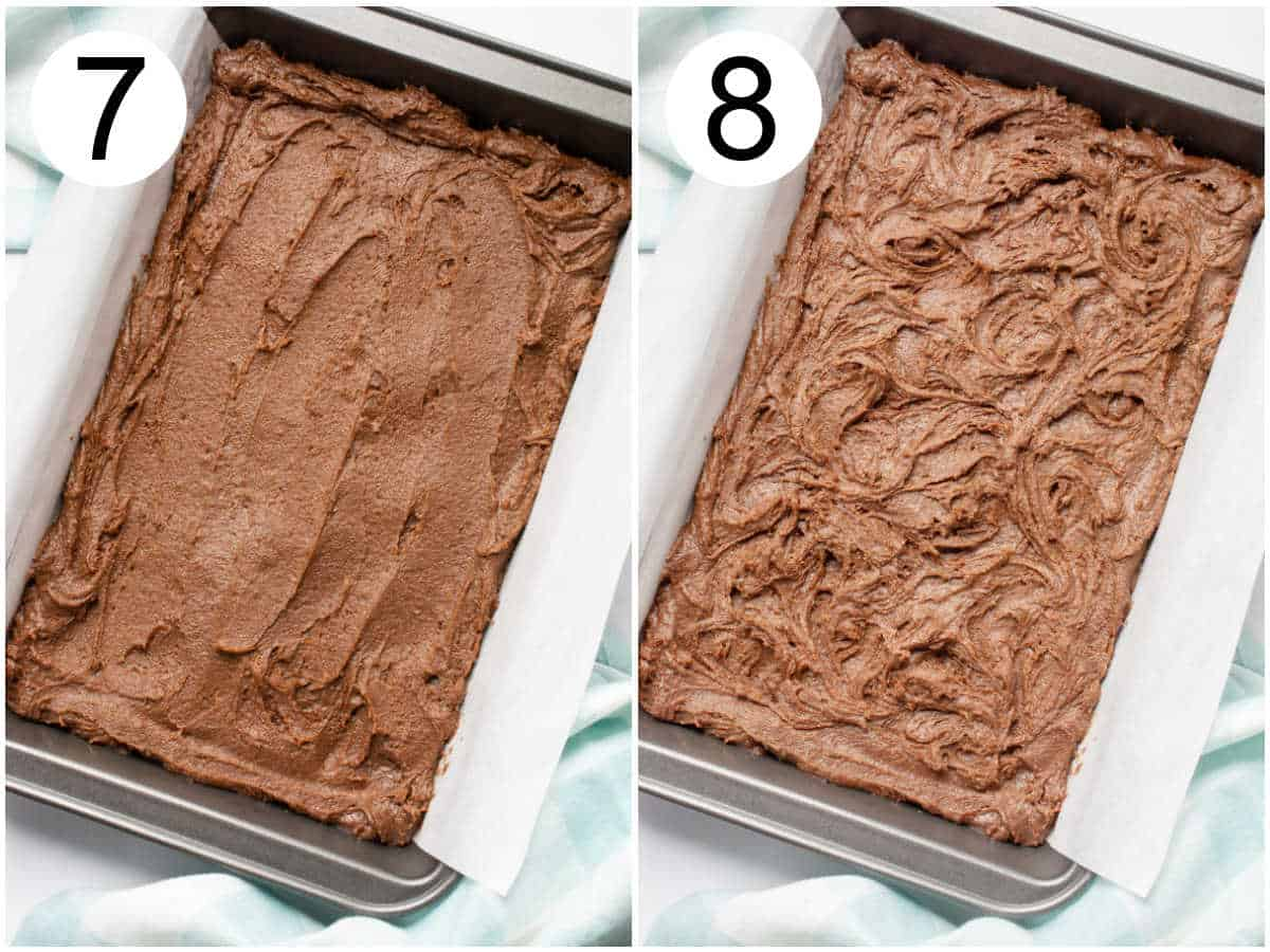 Vegan brownie batter spread into a baking pan.
