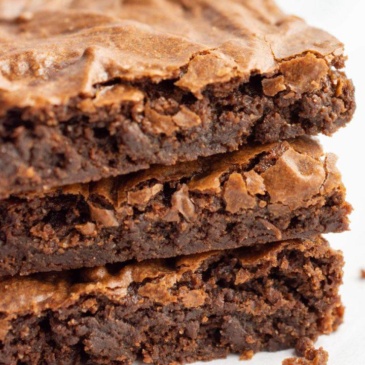 Close-up of fudgy vegan brownies.