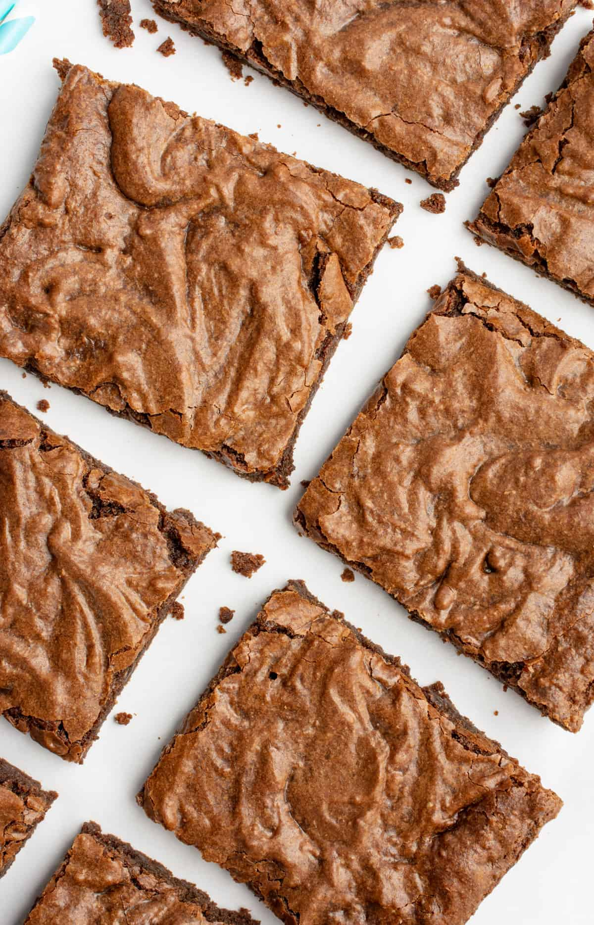 Overhead of brownies cut into squares.