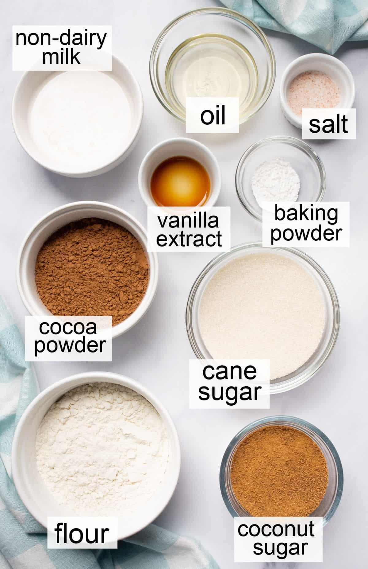 Ingredients to make vegan brownies.