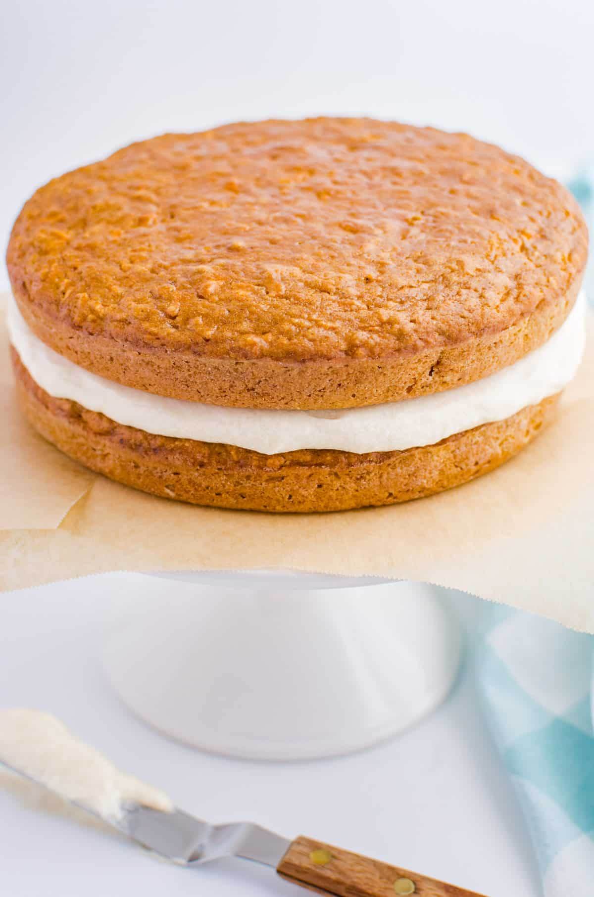 A 2 layer round cake with white frosting in the middle.