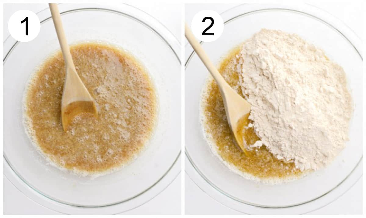 Process photos of mixing wet and dry cake ingredients together.