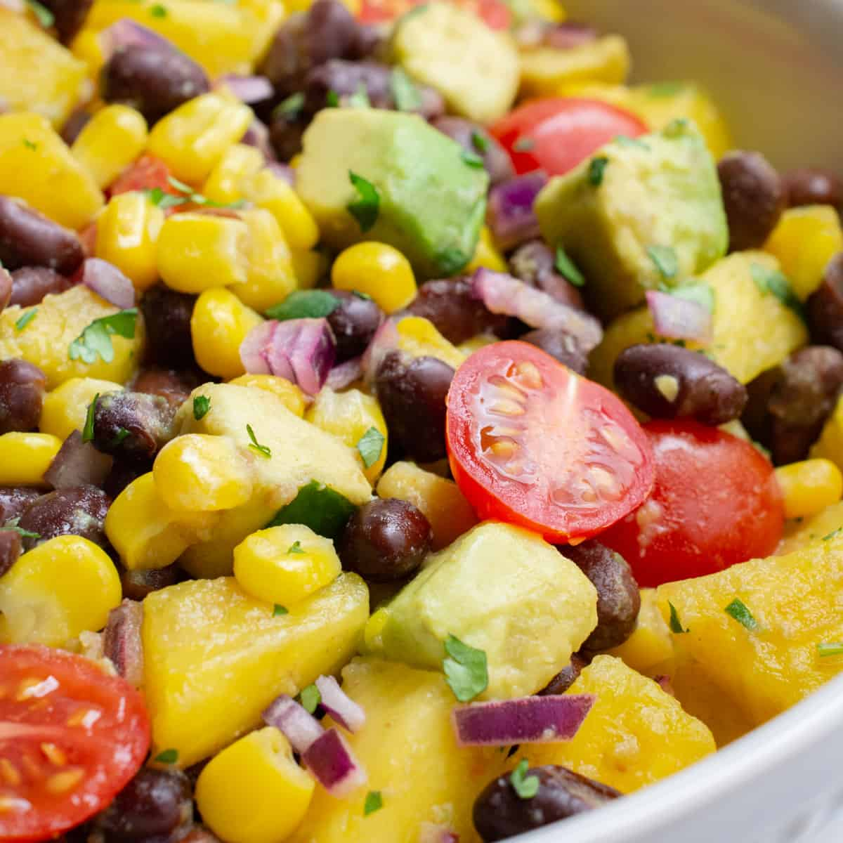 A bowl of fruit salad consisting of grape tomatoes, pineapple, avocado, red onion, corn, black beans, and cilantro.