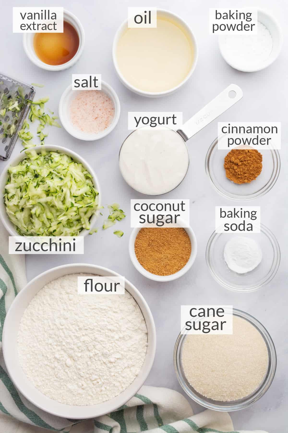 Ingredients needed to make vegan zucchini bread.