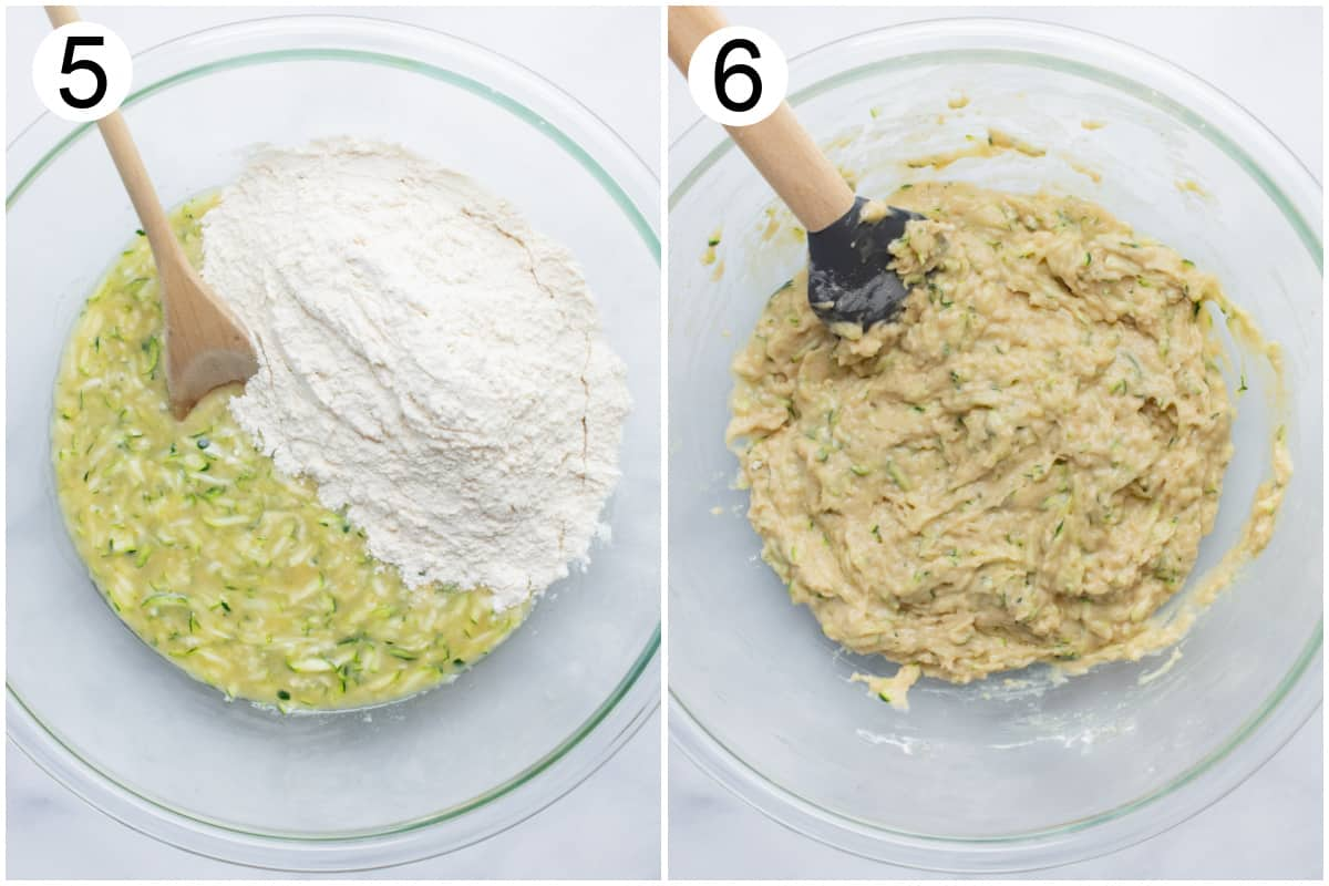 A bowl of wet and dry batter ingredients. And the bowl after the batter is mixed.