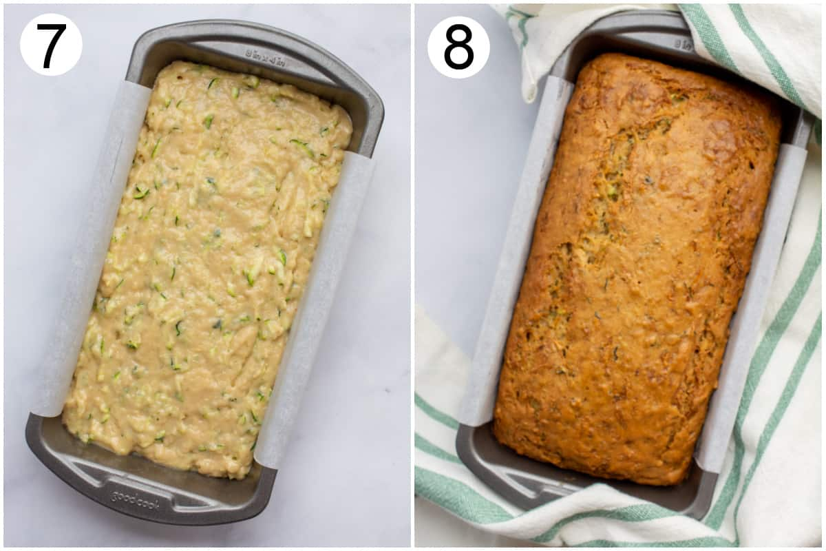 A loaf pan filled with zucchini bread batter.  And the loaf after baking.