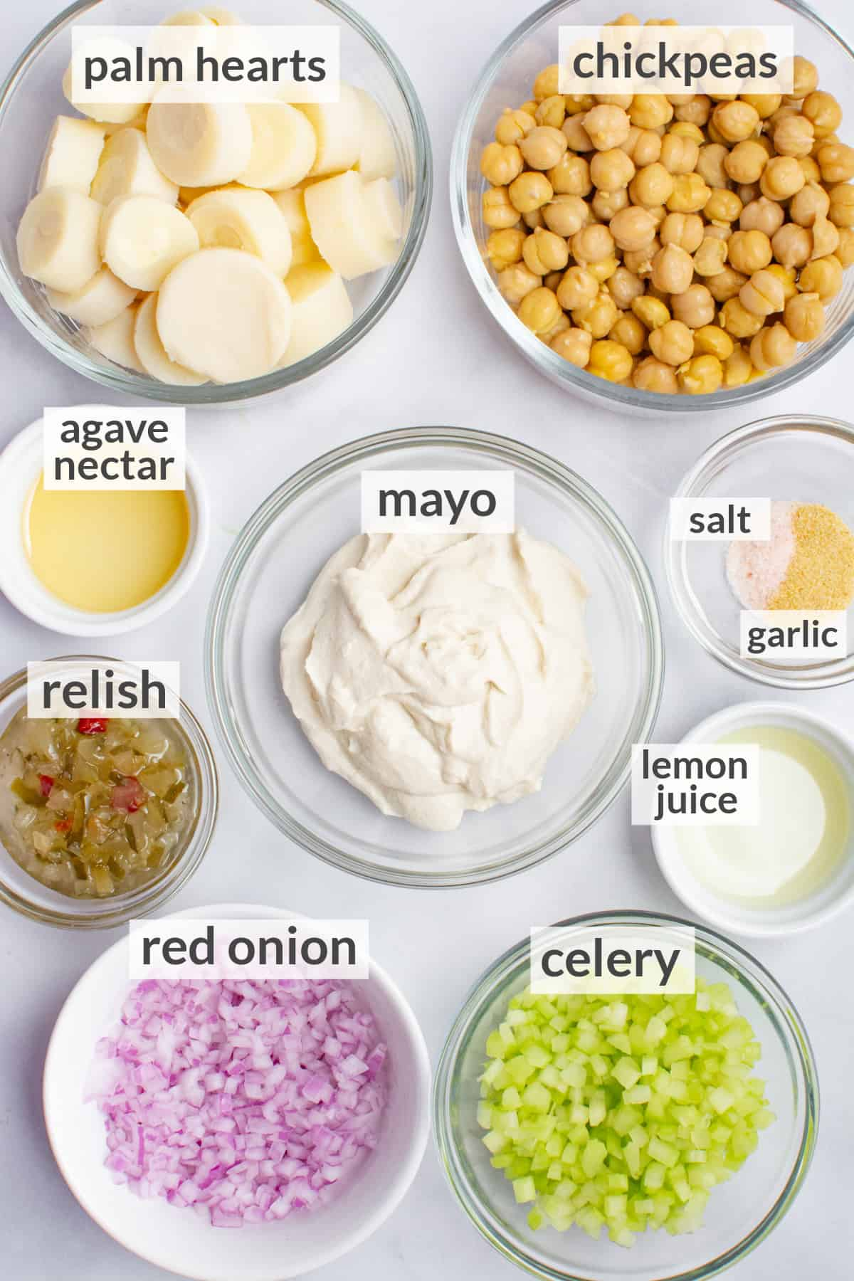 Ingredients for vegan tuna salad.