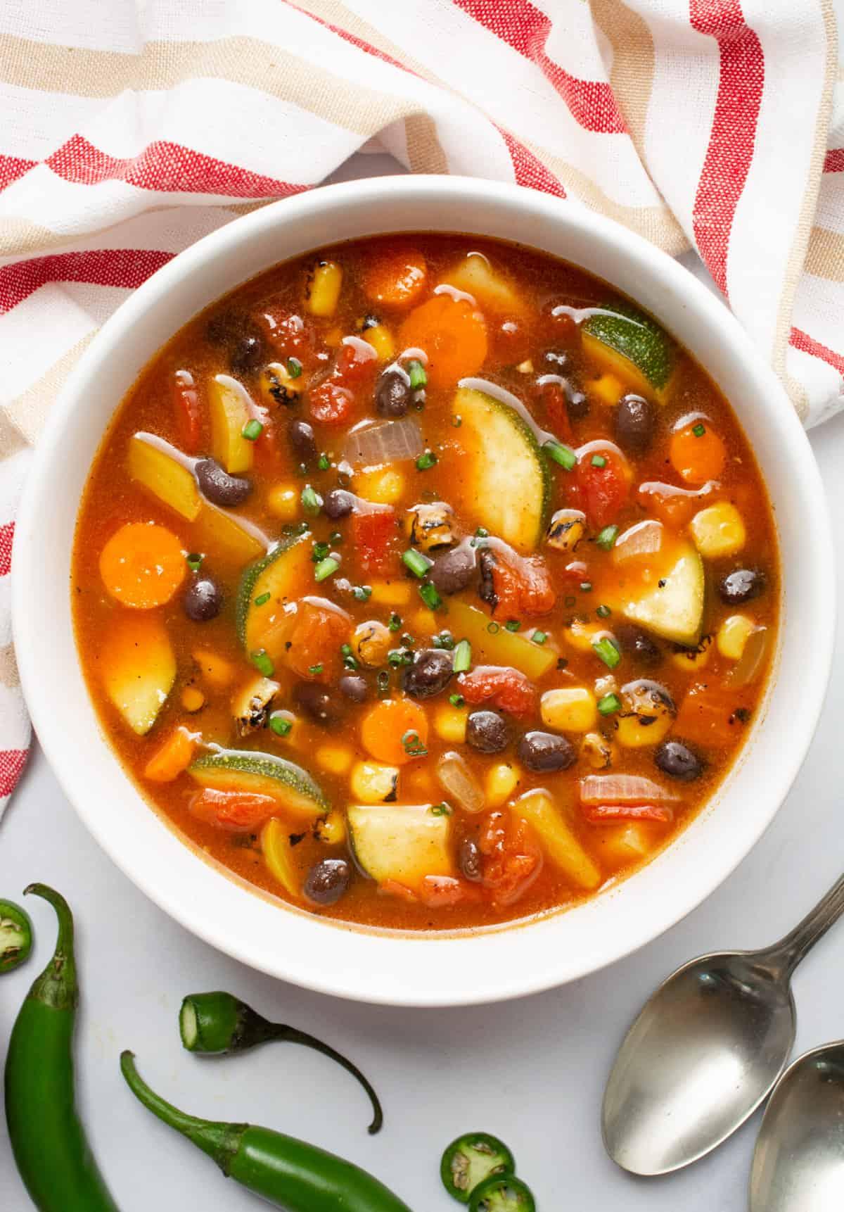 Vegan southwest soup in a white bowl.
