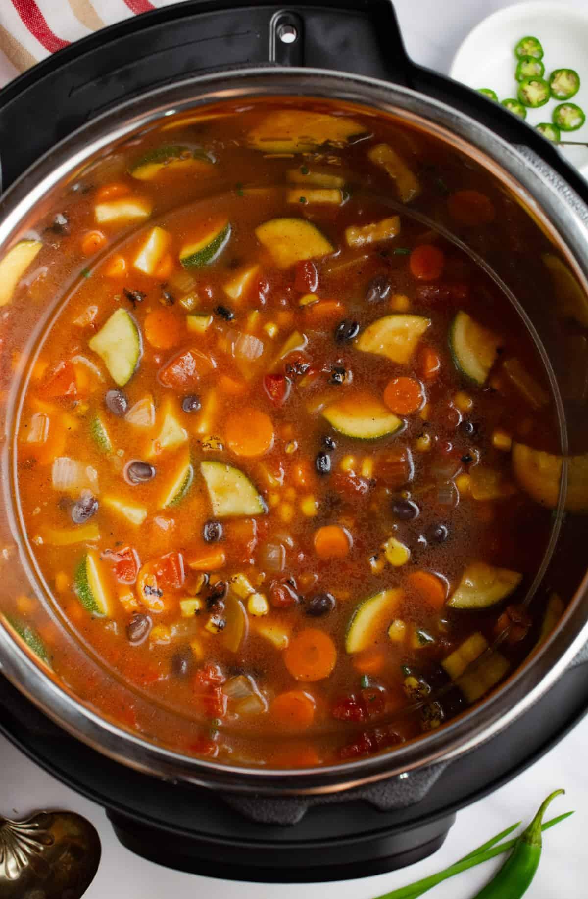 Southwest vegetable soup in an Instant Pot.