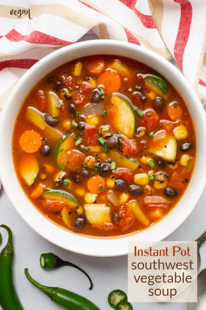 Southwest vegetable soup in a white bowl.